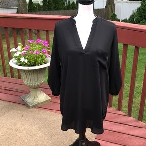 Lush black semi sheer long top